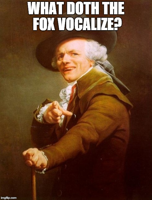 What doth the fox vocalize? | WHAT DOTH THE FOX VOCALIZE? | image tagged in memes,joseph ducreux,what does the fox say,poper,funny,what doth the fox vocalize | made w/ Imgflip meme maker