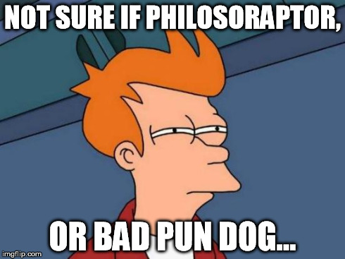Futurama Fry Meme | NOT SURE IF PHILOSORAPTOR, OR BAD PUN DOG... | image tagged in memes,futurama fry | made w/ Imgflip meme maker