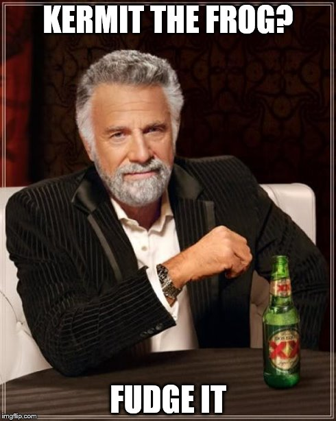The Most Interesting Man In The World Meme | KERMIT THE FROG? FUDGE IT | image tagged in memes,the most interesting man in the world | made w/ Imgflip meme maker