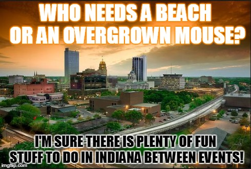 WHO NEEDS A BEACH OR AN OVERGROWN MOUSE? I'M SURE THERE IS PLENTY OF FUN STUFF TO DO IN INDIANA BETWEEN EVENTS! | image tagged in fort wayne, indiana | made w/ Imgflip meme maker