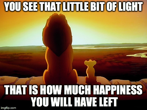 Happiness | YOU SEE THAT LITTLE BIT OF LIGHT THAT IS HOW MUCH HAPPINESS YOU WILL HAVE LEFT | image tagged in memes,lion king,darkness,light | made w/ Imgflip meme maker