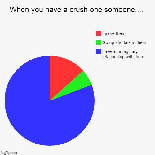 When you have a crush on someone... | When you have a crush one someone.... | have an imaginary relationship with them, Go up and talk to them, Ignore them | image tagged in funny,pie charts | made w/ Imgflip pie chart maker