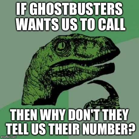 Philosoraptor Meme | IF GHOSTBUSTERS WANTS US TO CALL THEN WHY DON'T THEY TELL US THEIR NUMBER? | image tagged in memes,philosoraptor | made w/ Imgflip meme maker