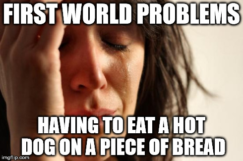 First World Problems Meme | FIRST WORLD PROBLEMS HAVING TO EAT A HOT DOG ON A PIECE OF BREAD | image tagged in memes,first world problems | made w/ Imgflip meme maker
