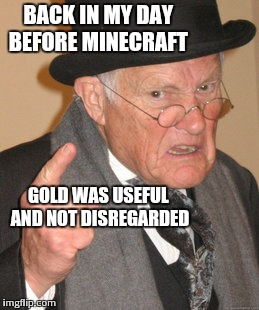 Back In My Day Meme | BACK IN MY DAY BEFORE MINECRAFT GOLD WAS USEFUL AND NOT DISREGARDED | image tagged in memes,back in my day | made w/ Imgflip meme maker