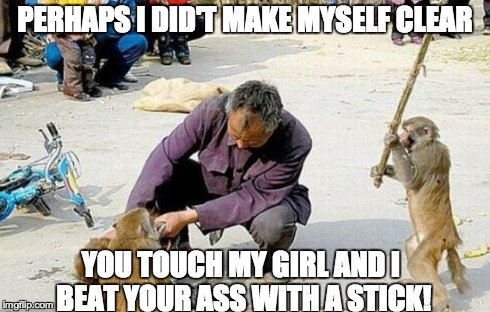 stick monkey | PERHAPS I DID'T MAKE MYSELF CLEAR YOU TOUCH MY GIRL AND I BEAT YOUR ASS WITH A STICK! | image tagged in stick monkey | made w/ Imgflip meme maker