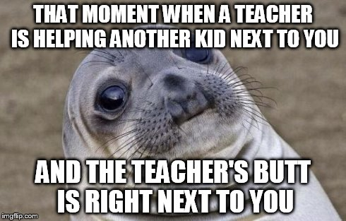 Awkward Moment Sealion | THAT MOMENT WHEN A TEACHER IS HELPING ANOTHER KID NEXT TO YOU AND THE TEACHER'S BUTT IS RIGHT NEXT TO YOU | image tagged in memes,awkward moment sealion | made w/ Imgflip meme maker