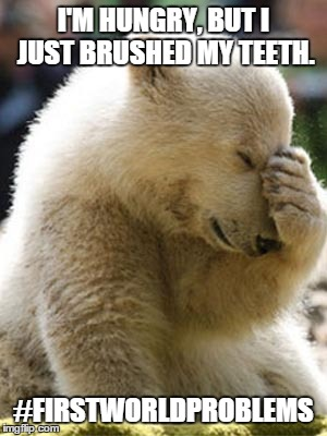 Facepalm Bear | I'M HUNGRY, BUT I JUST BRUSHED MY TEETH. #FIRSTWORLDPROBLEMS | image tagged in memes,facepalm bear | made w/ Imgflip meme maker