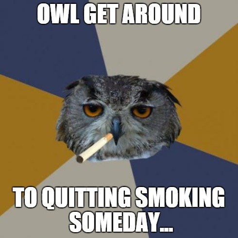 Art Student Owl | OWL GET AROUND TO QUITTING SMOKING SOMEDAY... | image tagged in memes,art student owl | made w/ Imgflip meme maker