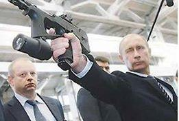 Putin with a gun Blank Meme Template