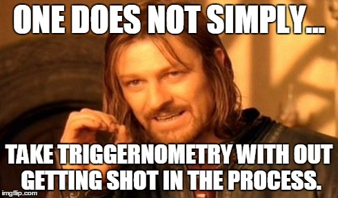 One Does Not Simply Meme | ONE DOES NOT SIMPLY... TAKE TRIGGERNOMETRY WITH OUT GETTING SHOT IN THE PROCESS. | image tagged in memes,one does not simply | made w/ Imgflip meme maker