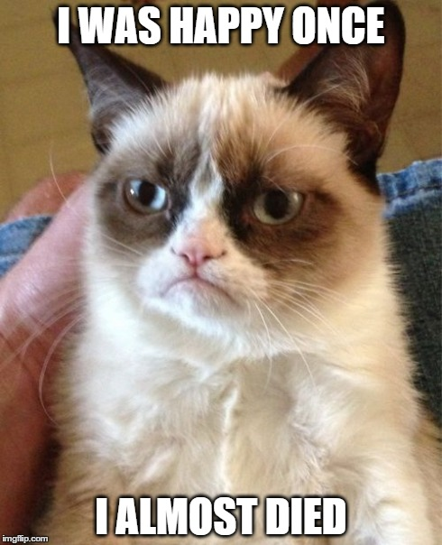 Grumpy Cat Meme | I WAS HAPPY ONCE I ALMOST DIED | image tagged in memes,grumpy cat | made w/ Imgflip meme maker