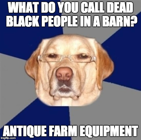 racist dog | WHAT DO YOU CALL DEAD BLACK PEOPLE IN A BARN? ANTIQUE FARM EQUIPMENT | image tagged in racist dog | made w/ Imgflip meme maker