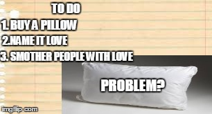 My to do list | TO DO 1. BUY A PILLOW 2.NAME IT LOVE 3. SMOTHER PEOPLE WITH LOVE PROBLEM? | image tagged in pillow,problem,funny,too funny,c4552z,to do list | made w/ Imgflip meme maker