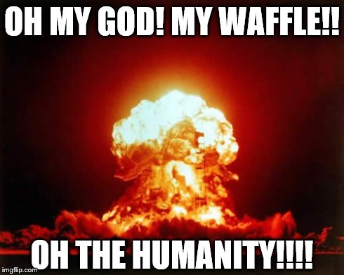 Nuclear Explosion Meme | OH MY GOD! MY WAFFLE!! OH THE HUMANITY!!!! | image tagged in memes,nuclear explosion | made w/ Imgflip meme maker