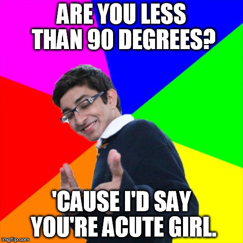 Subtle Pickup Liner Meme | ARE YOU LESS THAN 90 DEGREES? 'CAUSE I'D SAY YOU'RE ACUTE GIRL. | image tagged in memes,subtle pickup liner | made w/ Imgflip meme maker