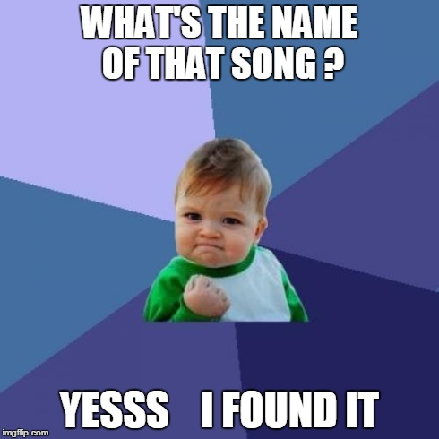 Success Kid | WHAT'S THE NAME OF THAT SONG ? YESSS    I FOUND IT | image tagged in memes,success kid | made w/ Imgflip meme maker