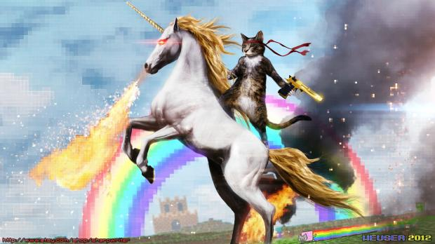cat rinding magic fire breathing unicorn in front of a rainbow Meme Template