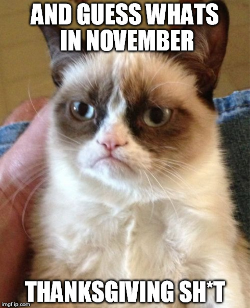 Grumpy Cat Meme | AND GUESS WHATS IN NOVEMBER THANKSGIVING SH*T | image tagged in memes,grumpy cat | made w/ Imgflip meme maker