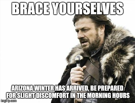 Brace Yourselves X is Coming Meme | BRACE YOURSELVES ARIZONA WINTER HAS ARRIVED, BE PREPARED FOR SLIGHT DISCOMFORT IN THE MORNING HOURS | image tagged in memes,brace yourselves x is coming,true story,funny,winter,weather | made w/ Imgflip meme maker