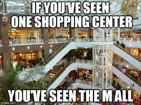 Mall | IF YOU'VE SEEN ONE SHOPPING CENTER YOU'VE SEEN THE M ALL | image tagged in mall,shopping,pun | made w/ Imgflip meme maker