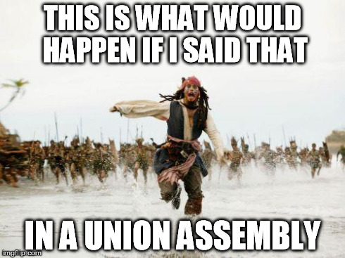 THIS IS WHAT WOULD HAPPEN IF I SAID THAT IN A UNION ASSEMBLY | image tagged in sparrow | made w/ Imgflip meme maker