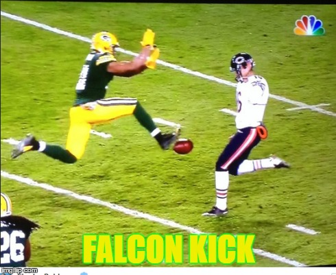FALCON KICK | image tagged in captain falcon,packers,super smash bros,bears | made w/ Imgflip meme maker