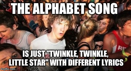 "This just came to me. | THE ALPHABET SONG IS JUST ""TWINKLE, TWINKLE, LITTLE STAR"" WITH DIFFERENT LYRICS 