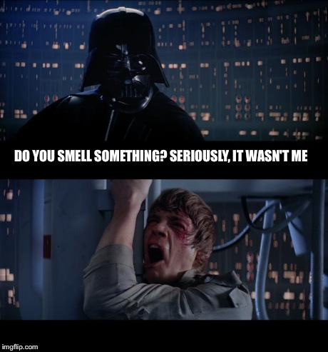Star Wars No | DO YOU SMELL SOMETHING? SERIOUSLY, IT WASN'T ME | image tagged in memes,star wars no | made w/ Imgflip meme maker