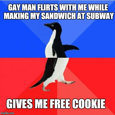 Socially Awkward Awesome Penguin | GAY MAN FLIRTS WITH ME WHILE MAKING MY SANDWICH AT SUBWAY GIVES ME FREE COOKIE | image tagged in memes,socially awkward awesome penguin,AdviceAnimals | made w/ Imgflip meme maker