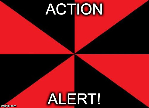 Action Alert! | ACTION ALERT! | image tagged in memes,empty red and black | made w/ Imgflip meme maker