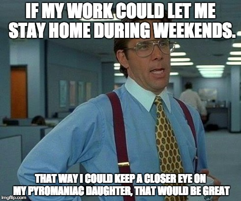 That Would Be Great Meme | IF MY WORK COULD LET ME STAY HOME DURING WEEKENDS. THAT WAY I COULD KEEP A CLOSER EYE ON MY PYROMANIAC DAUGHTER, THAT WOULD BE GREAT | image tagged in memes,that would be great | made w/ Imgflip meme maker