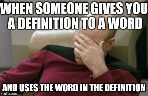 Captain Picard Facepalm Meme | WHEN SOMEONE GIVES YOU A DEFINITION TO A WORD AND USES THE WORD IN THE DEFINITION | image tagged in memes,captain picard facepalm | made w/ Imgflip meme maker