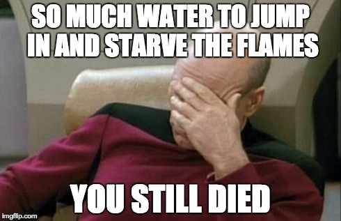 Captain Picard Facepalm Meme | SO MUCH WATER TO JUMP IN AND STARVE THE FLAMES YOU STILL DIED | image tagged in memes,captain picard facepalm | made w/ Imgflip meme maker