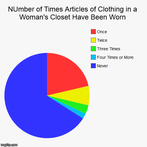Number of Times Articles of Clothing in a Woman's Closet Have Been Worn | NUmber of Times Articles of Clothing in a Woman's Closet Have Been Worn | Never, Four Times or More, Three Times, Twice, Once | image tagged in funny,pie charts,woman,clothing,closet | made w/ Imgflip chart maker