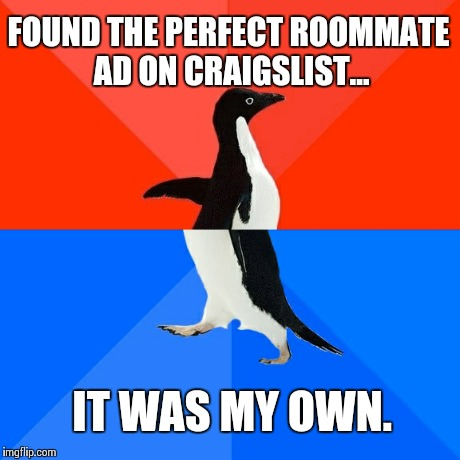 Socially Awesome Awkward Penguin | FOUND THE PERFECT ROOMMATE AD ON CRAIGSLIST... IT WAS MY OWN. | image tagged in memes,socially awesome awkward penguin,AdviceAnimals | made w/ Imgflip meme maker