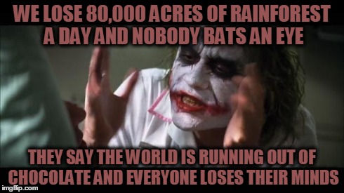 And everybody loses their minds | WE LOSE 80,000 ACRES OF RAINFOREST A DAY AND NOBODY BATS AN EYE THEY SAY THE WORLD IS RUNNING OUT OF CHOCOLATE AND EVERYONE LOSES THEIR MIND | image tagged in memes,and everybody loses their minds,rainforest,chocolate | made w/ Imgflip meme maker