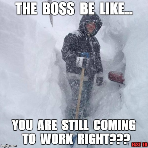 No Snow Days... | THE  BOSS  BE  LIKE... YOU  ARE  STILL  COMING  TO  WORK  RIGHT??? FAST  ED | image tagged in snow,work,blizzard | made w/ Imgflip meme maker