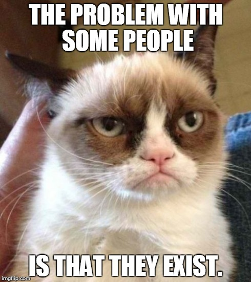 Grumpy Cat Reverse Meme | THE PROBLEM WITH SOME PEOPLE IS THAT THEY EXIST. | image tagged in memes,grumpy cat reverse,grumpy cat | made w/ Imgflip meme maker