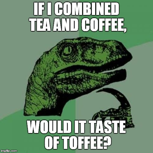 Philosoraptor | IF I COMBINED TEA AND COFFEE, WOULD IT TASTE OF TOFFEE? | image tagged in memes,philosoraptor | made w/ Imgflip meme maker