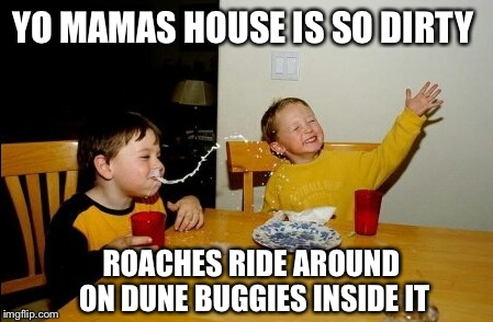 Yo mamas house is so dirty | YO MAMAS HOUSE IS SO DIRTY ROACHES RIDE AROUND ON DUNE BUGGIES INSIDE IT | image tagged in memes,yo mamas so fat,funny,too funny | made w/ Imgflip meme maker