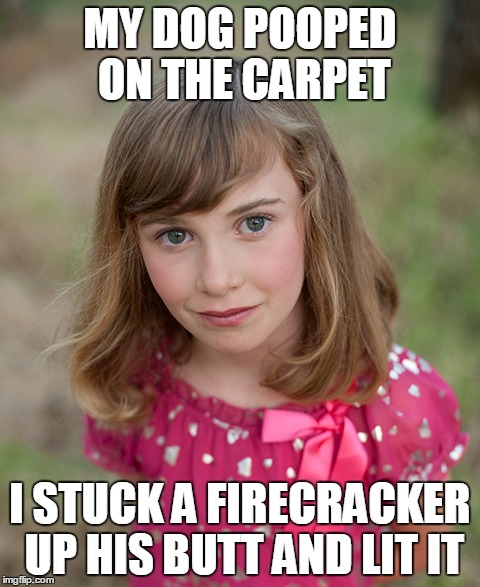 Evil Emily | MY DOG POOPED ON THE CARPET I STUCK A FIRECRACKER UP HIS BUTT AND LIT IT | image tagged in evil,child | made w/ Imgflip meme maker
