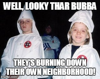 WTF are you thinking? | WELL, LOOKY THAR BUBBA THEY'S BURNING DOWN THEIR OWN NEIGHBORHOOD! | image tagged in memes,kool kid klan | made w/ Imgflip meme maker