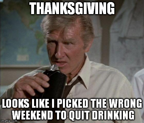 Lloyd Bridges | THANKSGIVING LOOKS LIKE I PICKED THE WRONG WEEKEND TO QUIT DRINKING | image tagged in lloyd bridges,airplane,movie,comedy,drinking,thanksgiving | made w/ Imgflip meme maker