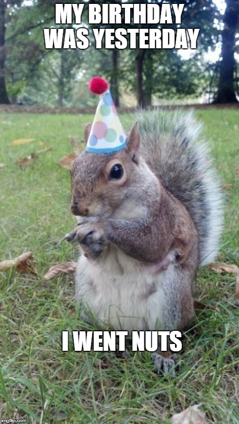Super Birthday Squirrel Meme | MY BIRTHDAY WAS YESTERDAY I WENT NUTS | image tagged in memes,super birthday squirrel | made w/ Imgflip meme maker
