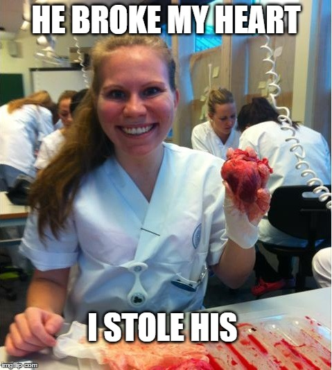 HE BROKE MY HEART I STOLE HIS | image tagged in AdviceAnimals | made w/ Imgflip meme maker