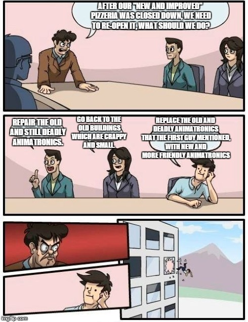 "Boardroom Meeting Suggestion | AFTER OUR ""NEW AND IMPROVED"" PIZZERIA WAS CLOSED DOWN, WE NEED TO RE-OPEN IT, WHAT SHOULD WE DO? REPAIR THE OLD AND STILL DEADLY ANIMATRONIC 