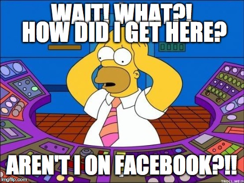 Is Facebook the Internet? | WAIT! WHAT?! AREN'T I ON FACEBOOK?!! HOW DID I GET HERE? | image tagged in homer,facebook,internet,fuckfacebook,simpsons,meme | made w/ Imgflip meme maker