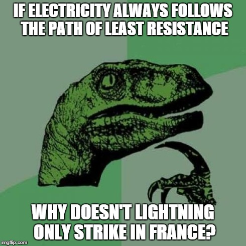 Philosoraptor Meme | IF ELECTRICITY ALWAYS FOLLOWS THE PATH OF LEAST RESISTANCE WHY DOESN'T LIGHTNING ONLY STRIKE IN FRANCE? | image tagged in memes,philosoraptor,AdviceAnimals | made w/ Imgflip meme maker