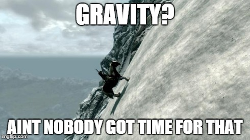 GRAVITY? AINT NOBODY GOT TIME FOR THAT | image tagged in skyrim horse | made w/ Imgflip meme maker